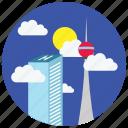 buildings, clouds, locations, places, skyscraper, sun