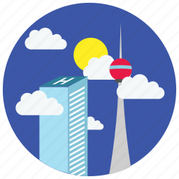 buildings, clouds, locations, places, skyscraper, sun icon