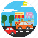 cars, food, locations, places, road, stands, street