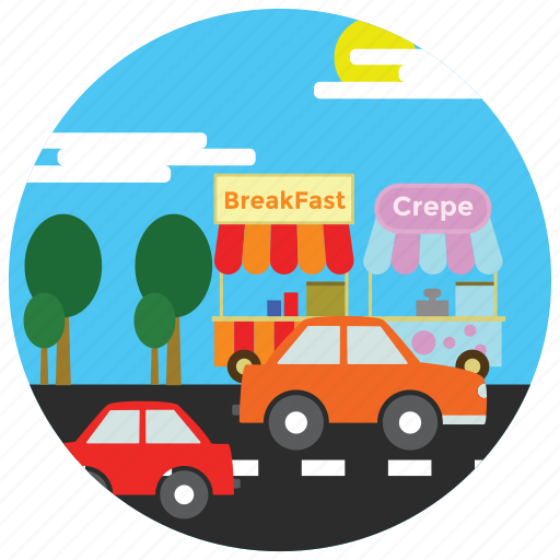 cars, food, locations, places, road, stands, street icon