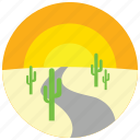 cactus, desert, locations, places, road, sunset icon