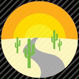 cactus, desert, locations, places, road, sunset icon