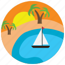 boat, lake, locations, oasis, palmtrees, places, sunset