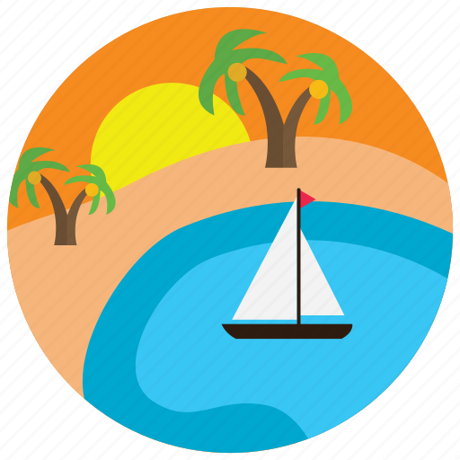 boat, lake, locations, oasis, palmtrees, places, sunset icon