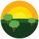 locations, park, places, sunset, trees icon