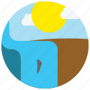 locations, places, sun, waterfall icon