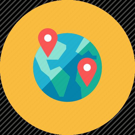 globe, pin icon