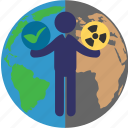 green, nuclear, radiation, sign icon