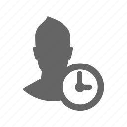 avatar, clock, man, time, user icon