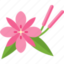 flower, ping, plant, sheet icon