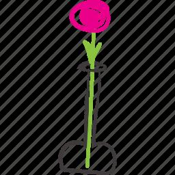 decorative, flower, green, nature, plant, rose, vase icon