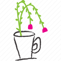 cup, flower, flowering, plant, stick icon
