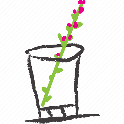flower, glass, pink plant, plant, stick, whisky jar icon