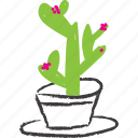 cacti, cactus, flowery, pink plant, planter, succulent icon
