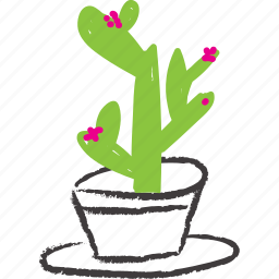 cacti, cactus, flowery, pink plant, planter, succulent icon