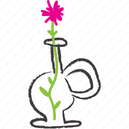 decoration, flower, pink, vase icon