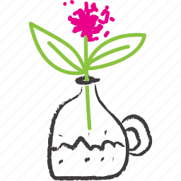 carafa, flower, pink, sketch, vase icon