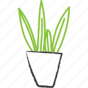 apartment plant, decorative, green, plant, planter, sketchy, sword plant icon