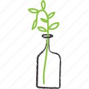 bottle, decorative, plant, stick, vase icon