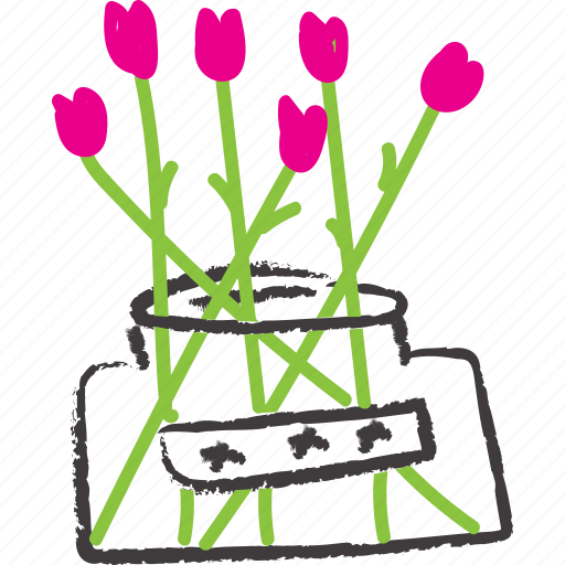 flowers, green, joyful, plants, pretty, tullips, vase icon
