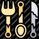 cutlery, fork, spoon, dishware, eating