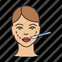 cheek augmentation, cheek lift, cheeks, face, facial, lifting, plastic surgery icon