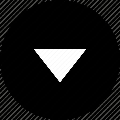 arrow, direction, down, move, triangle icon
