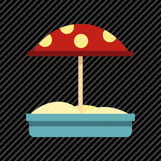 child, dot, game, sand, sandbox, shovel, umbrella icon