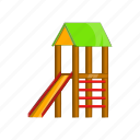 cartoon, fun, house, kid, playground, sign, slide icon