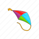 cartoon, fly, fun, kite, sign, sky, wind icon