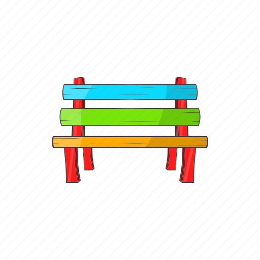 bench, cartoon, comfortable, furniture, park, sign, wooden icon