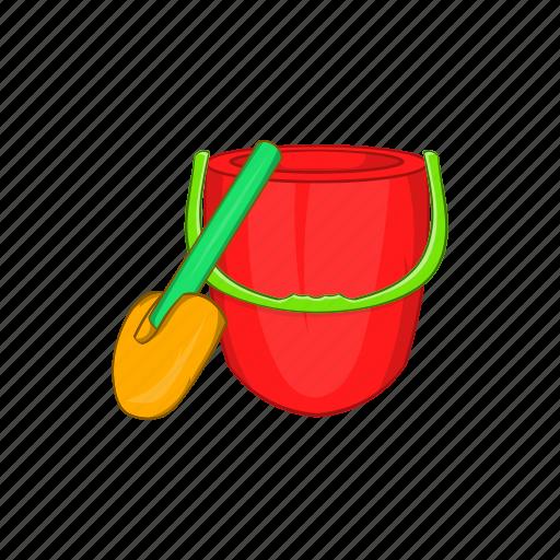 bucket, cartoon, child, childrens, shovel, sign, toy icon