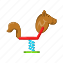cartoon, childhood, fun, horse, play, sign, swing icon