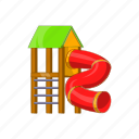 cartoon, fun, kid, pipe, playground, sign, slide icon