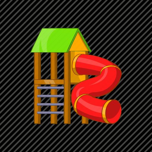 cartoon, fun, kid, pipe, playground, sign, slide icon