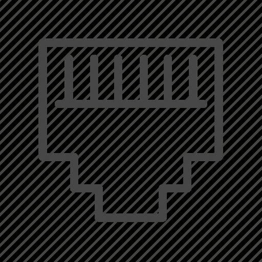 modular, plug, slot, socket, telephone icon