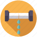 broken, leak, pipe, plumbing, water icon