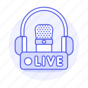 2, audio, broadcast, headphones, live, microphone, podcast, radio, station, streaming icon