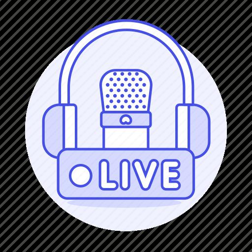 2, audio, broadcast, headphones, live, microphone, podcast, radio, station, streaming icon