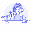 2, female, headset, microphone, podcast, podcaster, recording, streamer, vlogger, youtuber icon