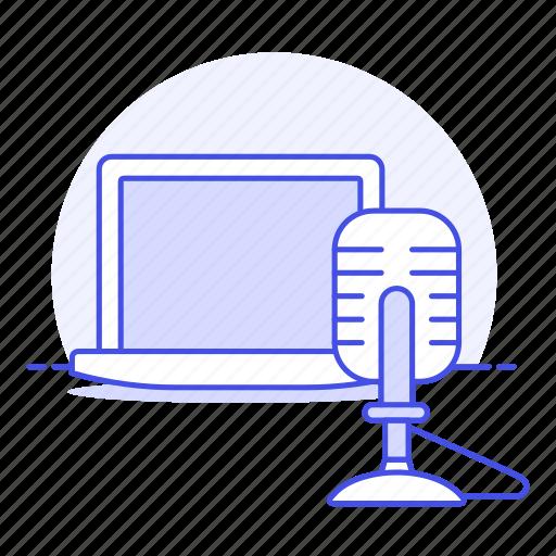1, audio, broadcast, home, laptop, microphone, podcast, recording, streaming, studio, voice icon