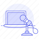 2, audio, broadcast, home, laptop, microphone, podcast, recording, streaming, studio, voice icon