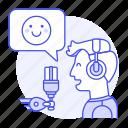 emoji, happy, male, microphone, podcast, podcaster, radio, show, streamer, vlogger icon