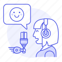 emoji, female, happy, microphone, podcast, podcaster, radio, show, streamer, vlogger icon