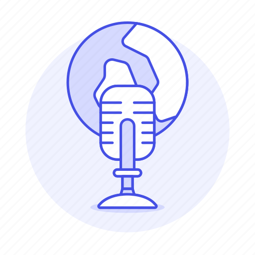 audio, broadcast, globe, live, microphone, news, podcast, radio, station, streaming, world icon