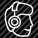 audio, headphone, listening, people, podcast, profile, sound icon