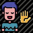 raise, hand, moderator, speech, lecture, conference, talk