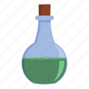 cartoon, experiment, flask, object, poison, round