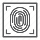 crime, fingerprint, human, id, print, protection, security icon
