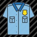 police, police officer shirt, police top, policeman, shirt icon